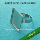 20mm Shiny Silver Square Adjustable Finger Ring Base for Personalized Jewelry Make
