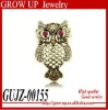 2012 custom rhinestone eyes vintage stretch owl ring