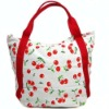 Big canvas shoulder bag with cherry printing