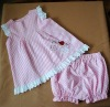 100% cotton check seersucker girl set