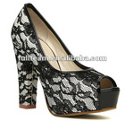 fashion sexy high heel women shoes with lace material