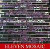 Purple strip glass mix white diamond mosaic EMT032