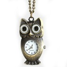 2012 Wholesale Cheap Antique Bronze Owl Pocket Watch With Chain 82mm 403077