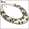 layered glass pearl beaded collar necklace jewelry KL-NL-W-1742-J