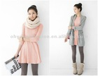 Autumn clother lady dress pure 100 cotton slim fit blank big U-Neck long sleeve under dress