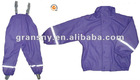 OEM polyester PVC rainwear coat pants as one set for children