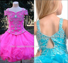 two-shoulder beaded organza and satin unique classic designs for girl dresses hot pink girls party dresses