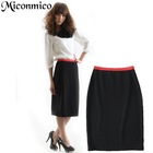 OL commuter black a-line skirt work half skirt bud skirt