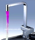 new style single lever LED kitchen sink tap waterpowered lighting