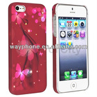 Print Design Flower Pattern Red Butterfly Case Cover For iPhone 5 G X'mas Gift