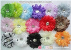 "Promotion 16 Pairs 2""(5-6cm) gerbera daisy flower +clip+headband /lot export usa and russian europ"