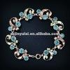 New Fashion Jewelry of Round Blue Sapphire CZ Diamond Rose Gold Link Bracelet