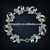 New Fashion Jewelry of Round Blue Sapphire CZ Diamond Rose Gold Link Bracelet
