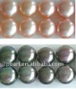 High luster 9-10mm big size pink&black color button pearl