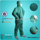PP nonwoven Coverall w/ hood ,w/o shoe covers, Green