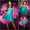 JR0122 Layers Design Western Style Cyan Short Corset Cocktail Dresses