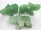 CVL028 Green aventurine gemstone beads carvings elephant 1.5 inch