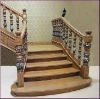L-shape indoor wooden staircase