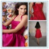 BD09 Fuchsia Satin Halter Neckline Bridesmaid dress