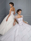 Affordable Full Length Strapless Ball Gown White Quinceanera Dress QV-087