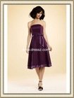 Cheap Simple Sleeveless Strapless Knee Length Satin Casual Bridesmaid Dress with Bow and Zipper Up Back