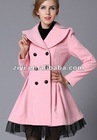 2012 gorgeous pink doll skirt big white Twill yarn double breasted wool coat