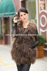 CDV007 New Arrive Coffee long mongolia lamb fur gilet for girls