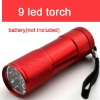 new arrival red colour mini 9 led electric torch flashlight 30 lumens super bright