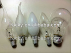 60w CLEAR/FROSTED C35 candle tailed bulbs
