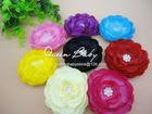 Stock! Rosette Swarovski Crystal Alloy Center Silk Ranunculus Flowers Sparkle Flowers Hair Accessory Heads