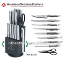 14 pcs knife with SS handle on rotating wood block