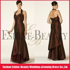 High-fashion satin floor-length chocolate halter neckline china bridesmaid dresses