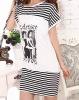 100% cotton black and white stripe night skirt
