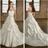 A-line White Satin Sweetheart Delicate Satin with Vintage Beading Italian Wedding Gowns