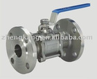 Three piece flanged stainless steel ball valve