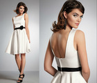 Squared Bateau Neckline Rises in The Front and Falls in The Back Sexy Off White Bridesmaid Dresses