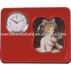 leather picture clock