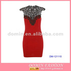 Ladies' Fashion Lace Backless Dress,Knitted Bodycon Dress with Lace Neckline for 2013