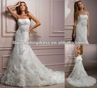 2012 New Style Fitted A-line gown with embellished corded lace Wedding Dress
