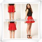 2013 Summer Ladies Bright Single Color Pleated Mini Skirt