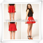 2013 Summer Ladies Bright Single Color Pleated Mini Skirt
