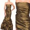 Gorgeous Mermaid Strapless Pleated Brown Party Dress for Women
