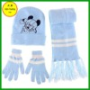 FB011845#Acrylic knitted fleece/scarf /gloves/hats three sports sets hot selling