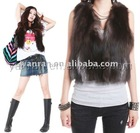 luxurious! natural color silver fox belly fur vest YR-044