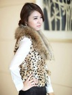 Rabbit fur in leopard spot print long vest/coat with raccoon dog fur collar (CH-004)