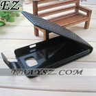 Free Shipping 20xpcs Pouch Skin Carbon Fiber Flip Case for Galaxy i9100,With Magnetic clip fastener IP-726