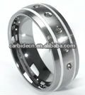 Wear resistant tungsten ring with stone