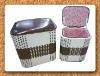 Wicker cane storage basket picnic set