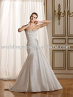 Pretty Charmeuse A Line Strapless Beaded Wedding Dress Bridal Gown lb03