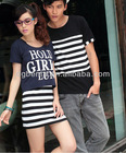 Couple casual wear cotton stripe daily sleeveless women's dress